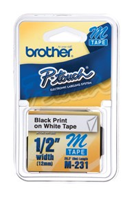 "Brother M231 12mm 1/2"""" Non-Laminated Black on White Labels"