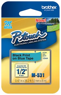 "Brother M531 12mm 1/2"""" Non-Laminated Black on Blue Labels"