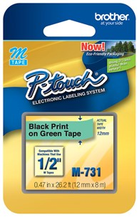 "Brother M731 12mm 1/2"""" Non-Laminated Black on Metallic Green Labels"