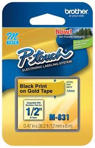 "Brother M831 12mm 1/2"""" Non-Laminated Black on Gold Labels"