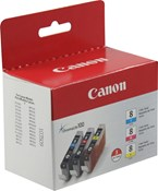 Canon CLI8 CMY Value Pack Color Ink 1,260 Yield 0621B016