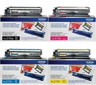 Brother TN210 Set Bk C M Y Toners Black 2200/Color 1400 Yield